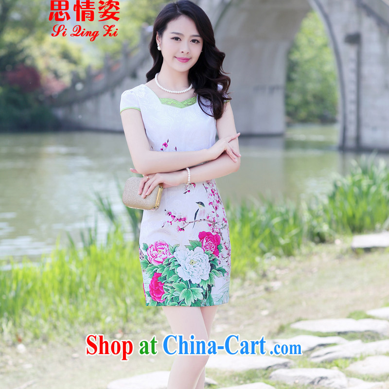 Summer 2015 new female retro stamp Beauty Fashion cheongsam dress summer red Peony XXXL