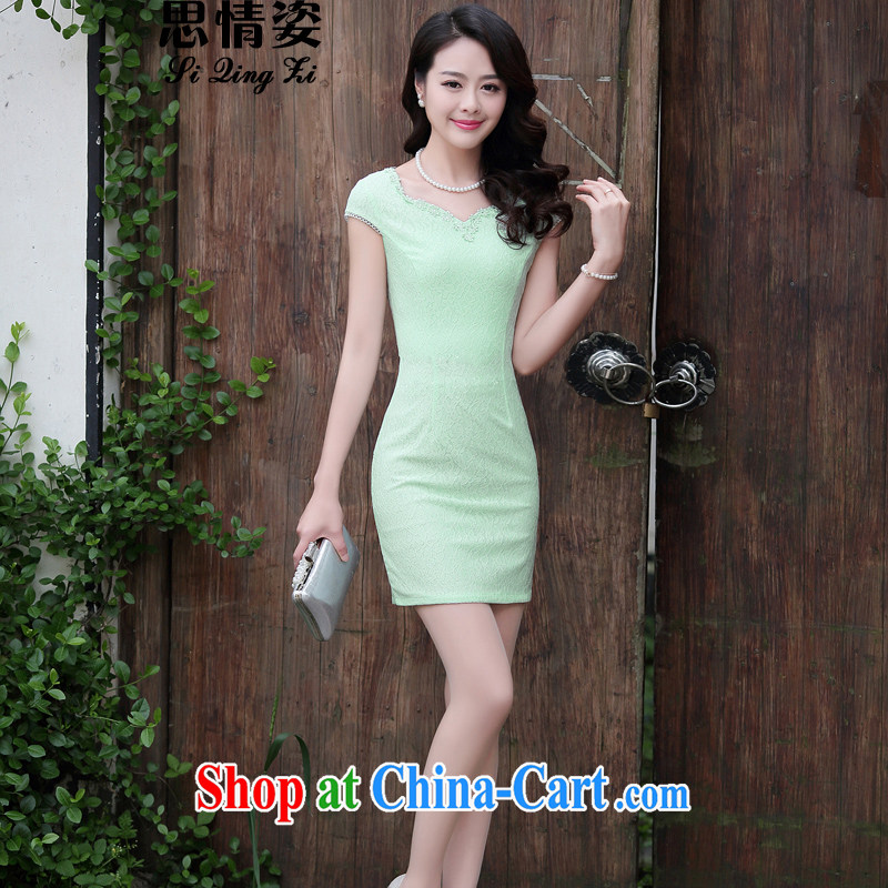 Summer 2015 new Chinese embroidery lace retro beauty graphics thin short-sleeved cheongsam dress green XXL