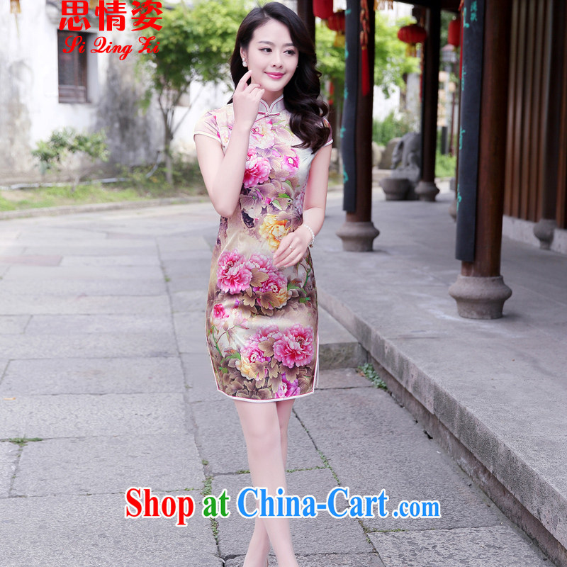 Summer 2015 new retro improved quality sauna silk short-sleeved dresses girl dresses pink Peony L