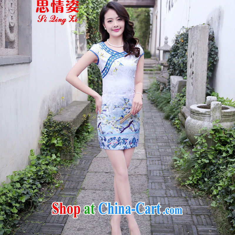 The beautiful valley 2015 summer new stylish and refined beauty, stamp duty cheongsam dress female blue plum XXL