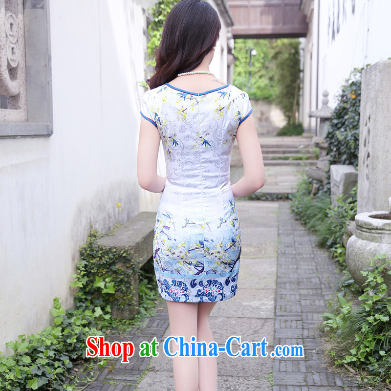 Mansfield, valley, summer 2015 new stylish and refined beauty, stamp duty cheongsam dress female blue plum XXL, Cayman, Lai Valley, shopping on the Internet
