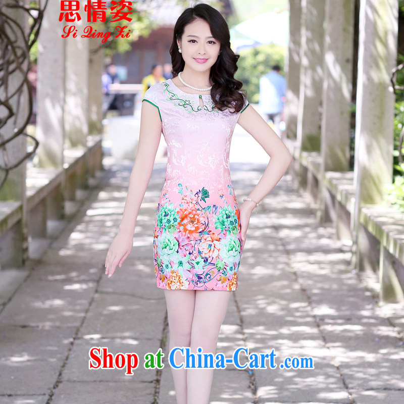 Summer 2015 new cheongsam dress short-sleeved beauty stamp National wind package and qipao female toner the Peony L