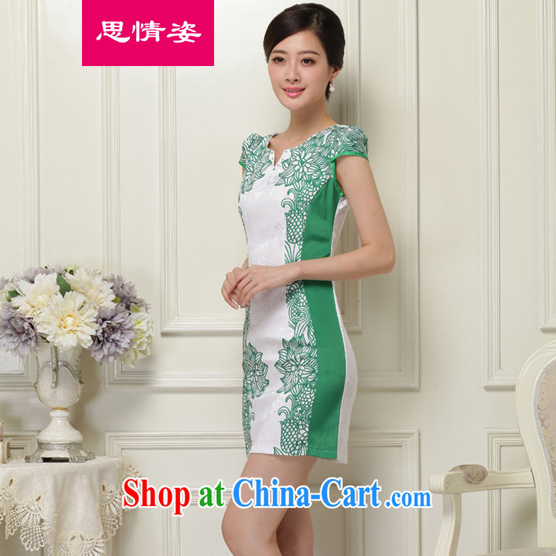 The beautiful valley summer 2015 new Korean retro embroidered improved short-sleeve cheongsam dress girls summer green L