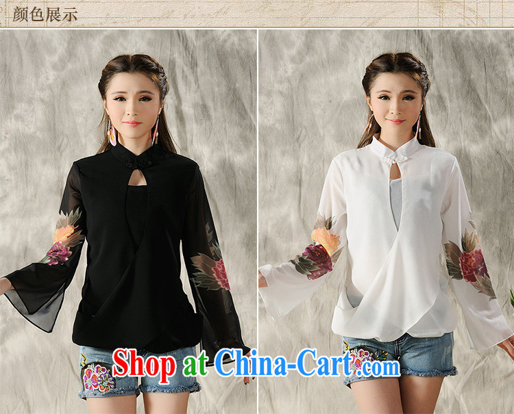 The poem, 2015 new hand-painted long-sleeved T-shirt cheongsam Chinese Spring Chinese Ethnic Wind women 7298 #white XXL pictures, price, brand platters! Elections are good character, the national distribution, so why buy now enjoy more preferential! Health