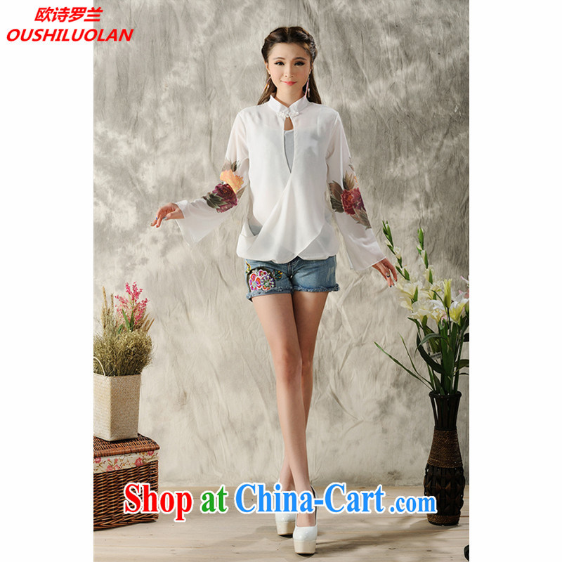 The poem, 2015 new hand-painted long-sleeved T-shirt cheongsam Chinese Spring Chinese Ethnic Wind women 7298 _white XXL