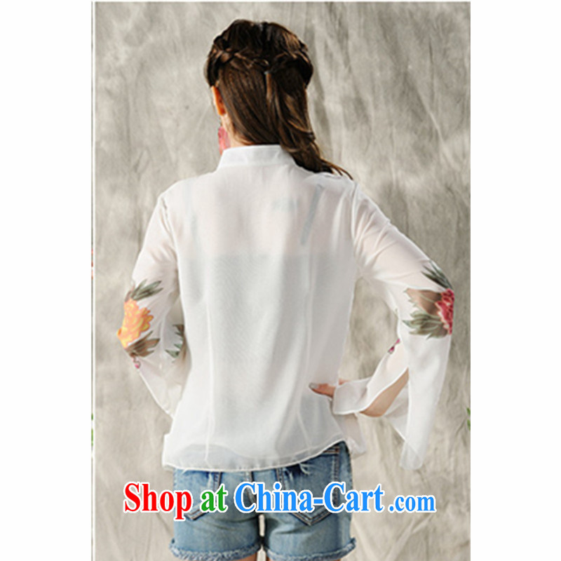 The poem, 2015 new hand-painted long-sleeved T-shirt cheongsam Chinese Spring Chinese Ethnic Wind women 7298 #white XXL, the poetry, and, shopping on the Internet