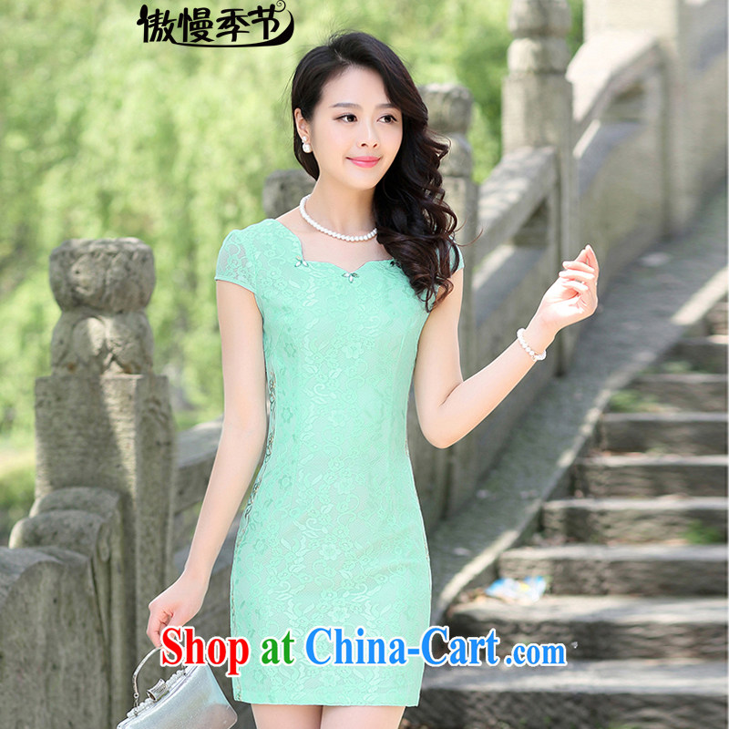 Arrogant season summer 2015 new stylish stamp improved daily style package and graphics thin larger dresses dresses female Green XXL