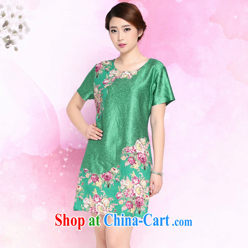 JA the 2015 summer on the New Silk wrinkled mother load loose the code Chinese Dress XYY - 8326 green XXXL