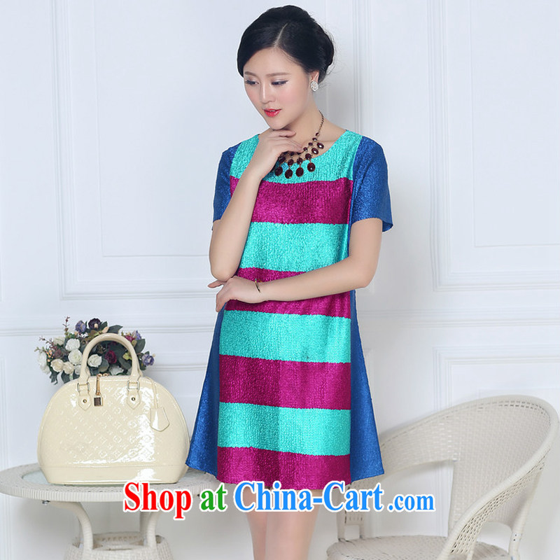 JA the 2015 summer on the new liberal mom with silk wrinkles the code dress XYY - 8322 blue XXXL