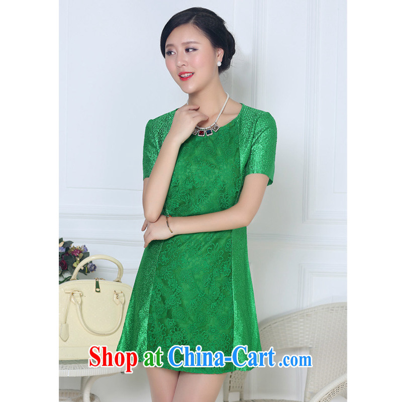The JA summer 2015, on a new Silk wrinkled, elderly mother in long dresses XYY - 8321 green XXXL