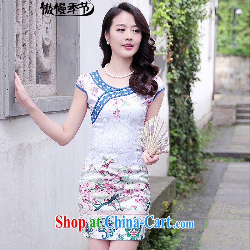 Arrogant season 2015 new summer daily improved cheongsam short-sleeved, long cheongsam dress female toner Phillips S