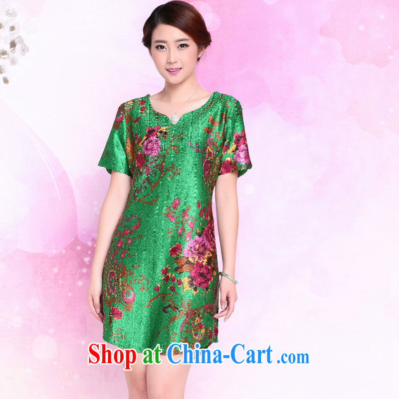 JA the 2015 summer on the new loose silk wrinkled style mom with older blouses XYY - 1283 green XXXXL
