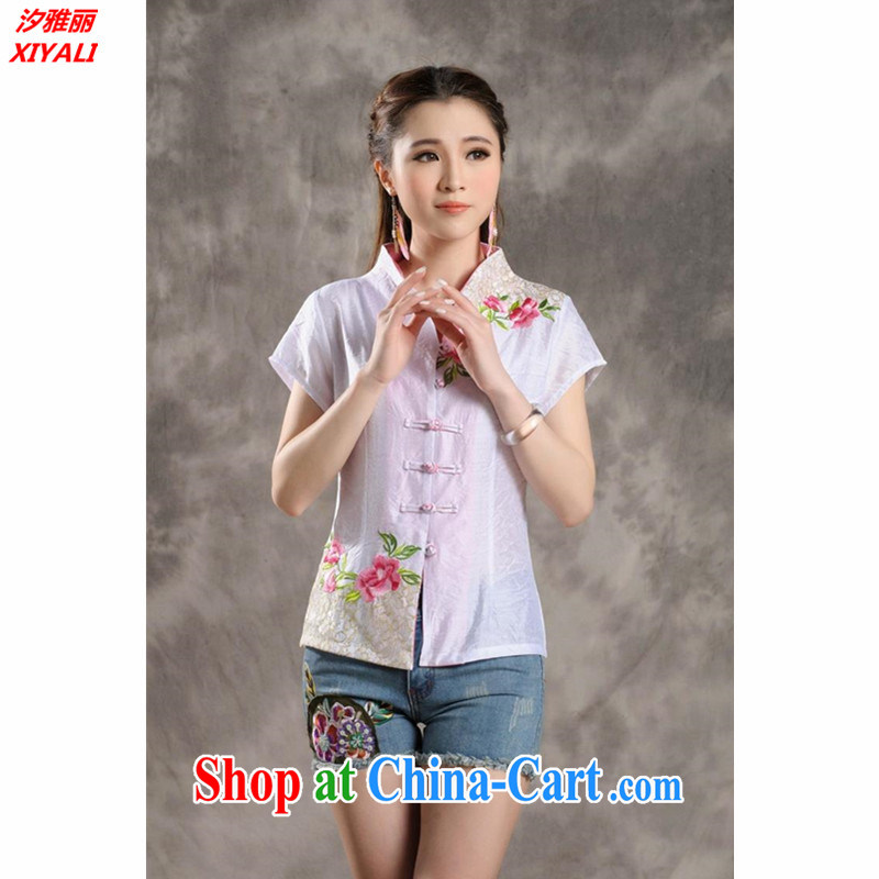 Hsichih, Alice Ethnic Wind 2015 new Peony embroidery Chinese ladies summer_Chinese improved short-sleeved T-shirt outfit _7299 white M