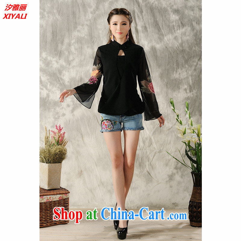 Hsichih, Alice 2015 new hand-painted long-sleeved T-shirt cheongsam Chinese Spring Chinese Ethnic Wind women 7298 #black M