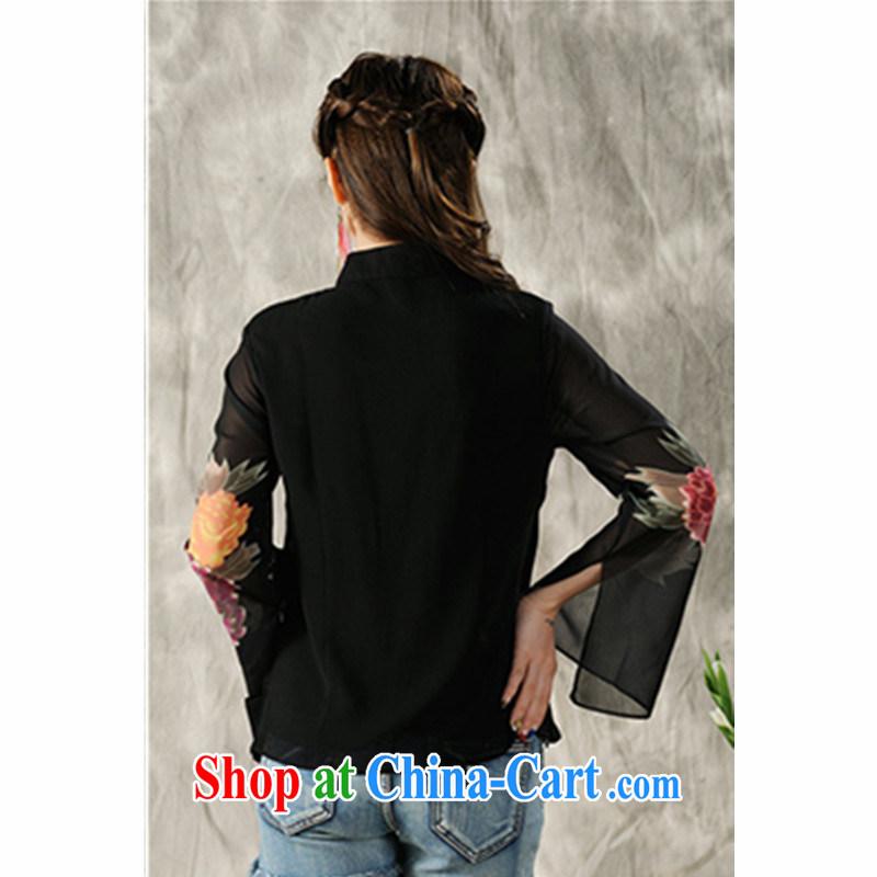Hsichih, Alice 2015 new hand-painted long-sleeved T-shirt cheongsam Chinese Spring Chinese Ethnic Wind women 7298 #black M, Hsichih, Alice (xiyali), online shopping