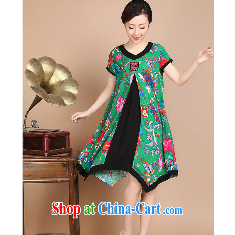 JA the 2015 summer on the new loose the code does not rule, with floral mom with Chinese Dress FGR - C 1128 - 1 green XXL