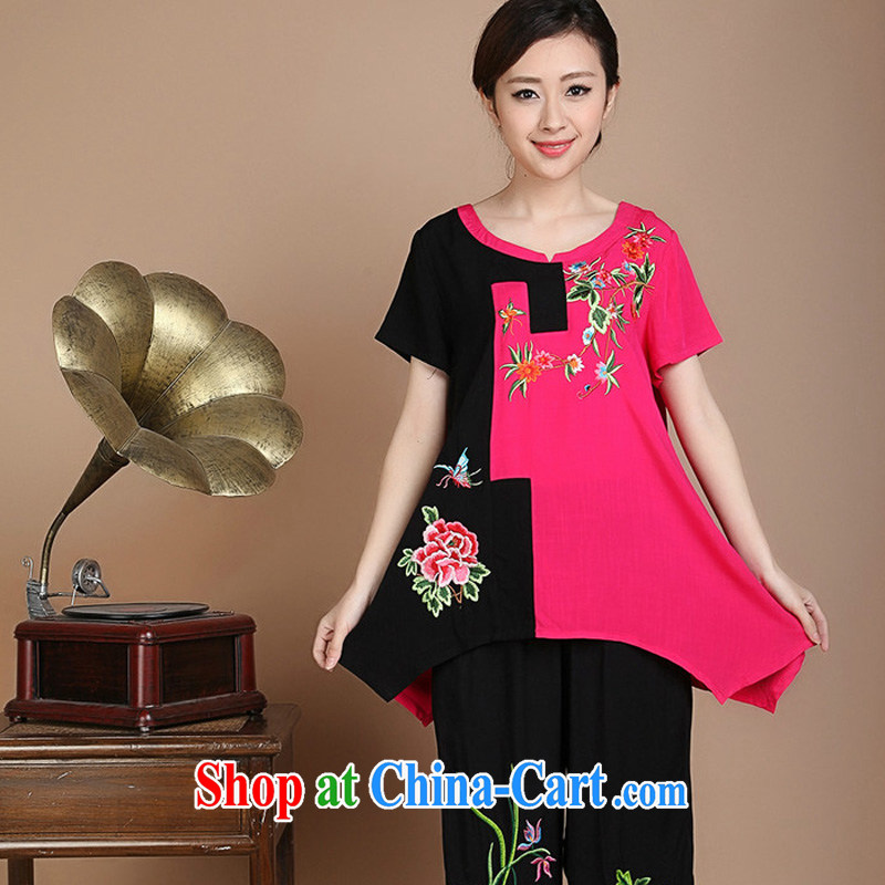 JA the 2015 summer on the new loose the code cotton embroidered Chinese elderly in T-shirt FGR - A 5356 rose red XXXL