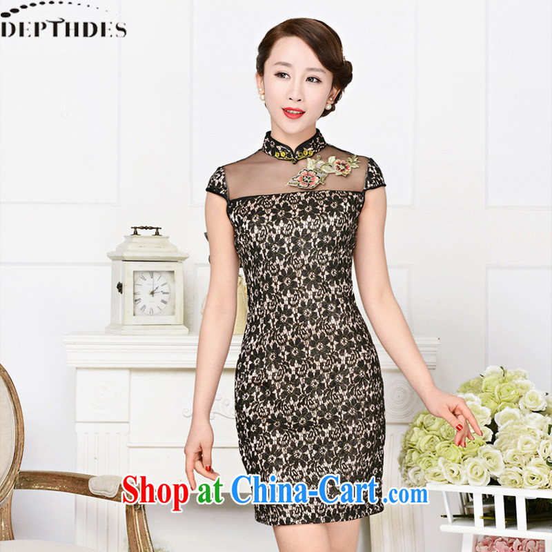 2015 DEPTHDES new summer girls decorated in graphics thin short-sleeve Lace Embroidery package and short skirts dresses improved dress black lace two flower peony flower XXL