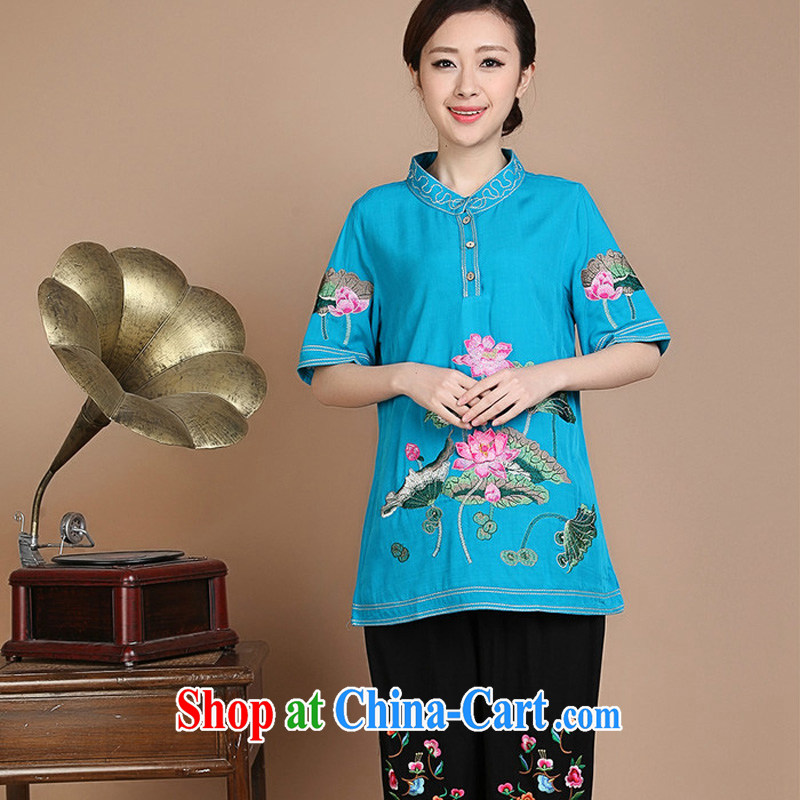 The JA summer 2015, the new loose the code, for single-tie fresh Lotus short-sleeved wide sleeves comfortable mom with Chinese T-shirt FGR - A 244 blue XXXL