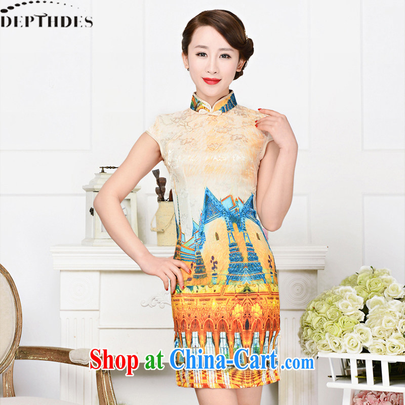 2015 DEPTHDES new summer girls retro-tie short-sleeved stamp duty Chinese, for improved cultivation video thin short cheongsam style dresses White Palace figure XXL