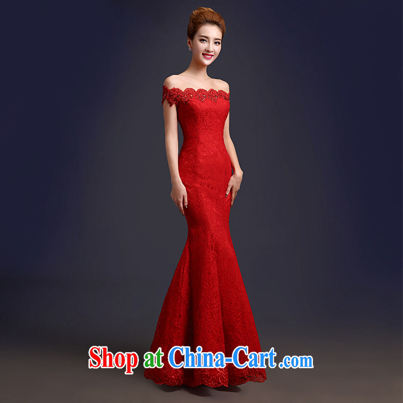 Toasting Service Bridal spring 2015 New red long-field shoulder crowsfoot wedding dresses beauty summer evening dress general long M