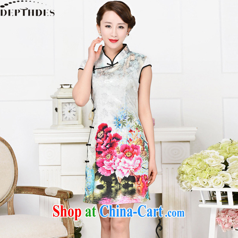 2015 DEPTHDES new summer wear women's clothing Ethnic Wind Peony stamp duty is a tight short-sleeved beauty graphics thin improved qipao skirts dresses black collar, crane figure XXL