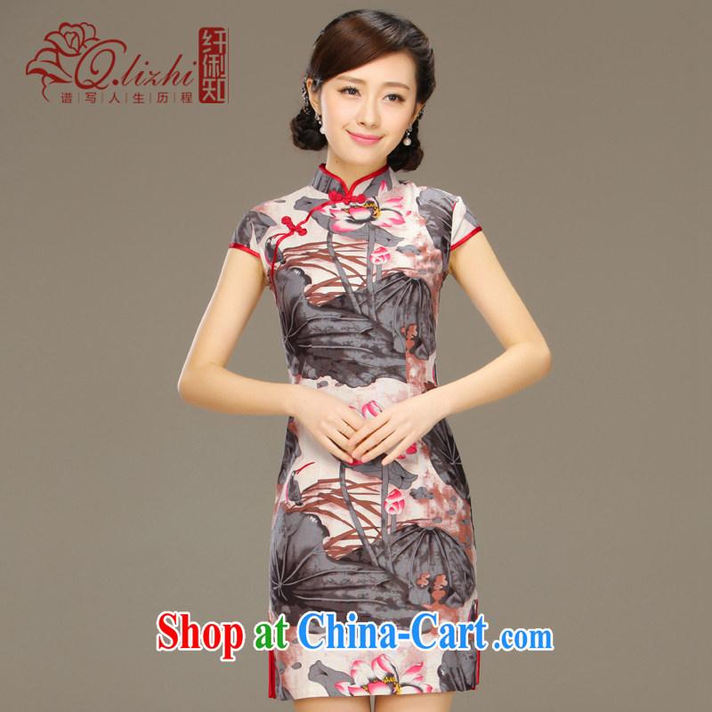 Slim li know Lin, the cotton summer dresses stylish short-sleeve retro short beauty graphics thin Chinese improved dresses QLZ Q 15 6059 Lin - the dust XXL, slim Li (Q . LIZHI), online shopping