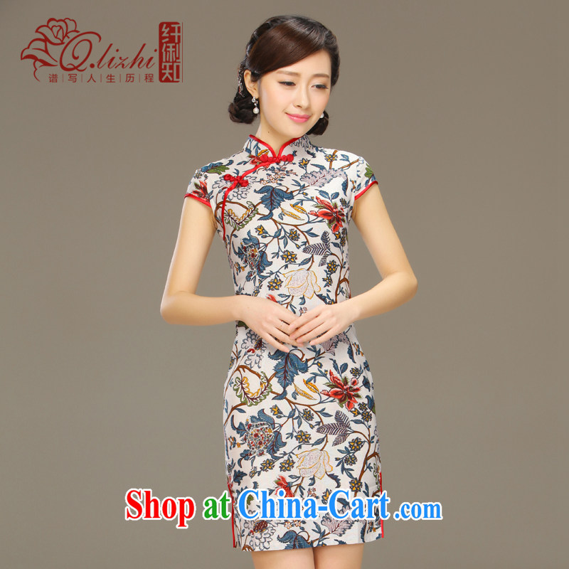 Slim li know that flick to spend National wind girls cotton the dresses, Chinese Antique summer-tie linen dresses QLZ Q 15 6060 flick to spend XXL