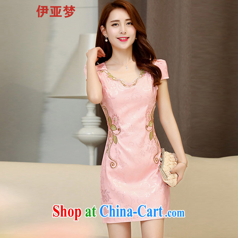 Iraq's dream 2015 summer New Beauty video thin China wind embroidery cheongsam dress dress pink XXL