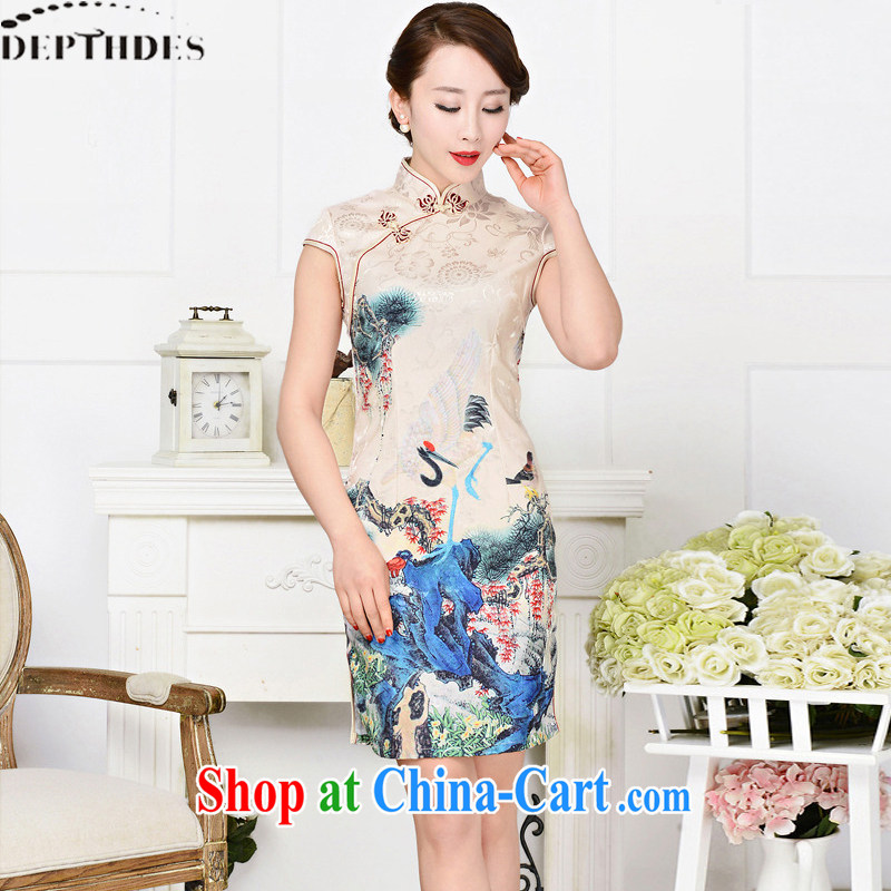 2015 DEPTHDES new summer women's clothing national retro beauty graphics thin elegance stamp paintings improved short cheongsam dress crane and small bird suit XXL