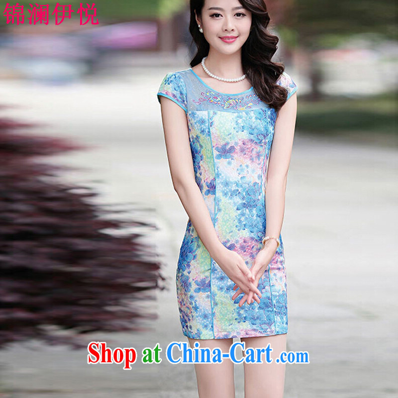 kam world the Hyatt color stamp cheongsam dress improved stylish short-sleeve lace-yi skirt package and short skirts blue Peony XL