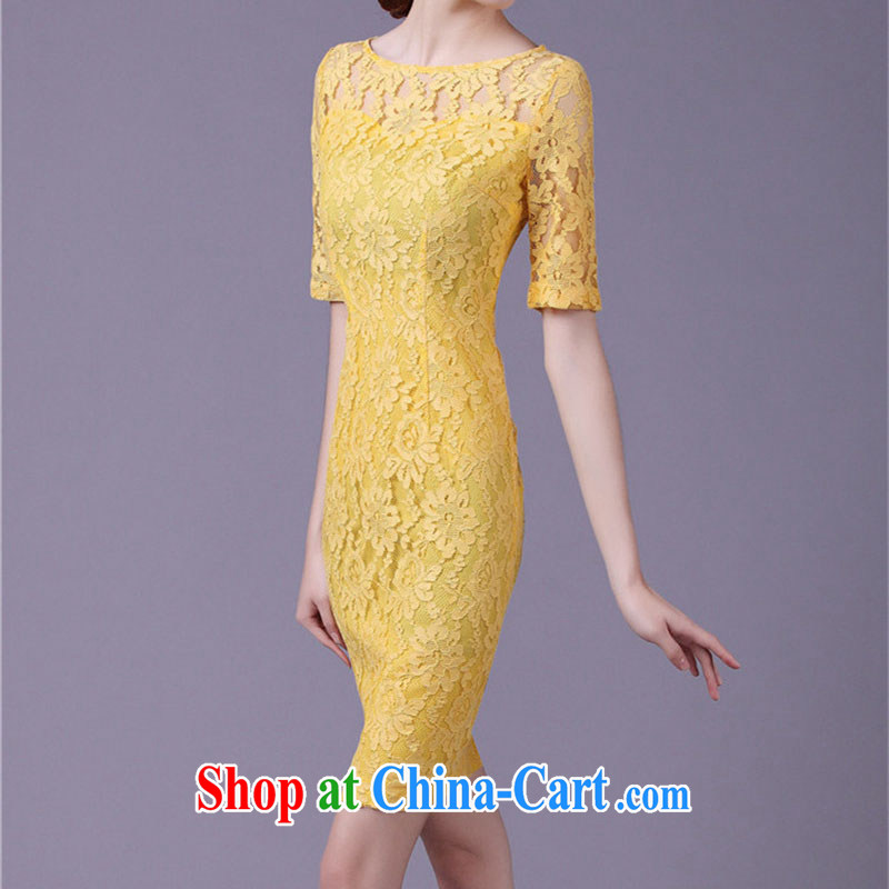 The 2015 spring and summer new dresses commuter OL lace improved cheongsam dress retro beauty cuff in pencil skirts Solid Color further skirt yellow L