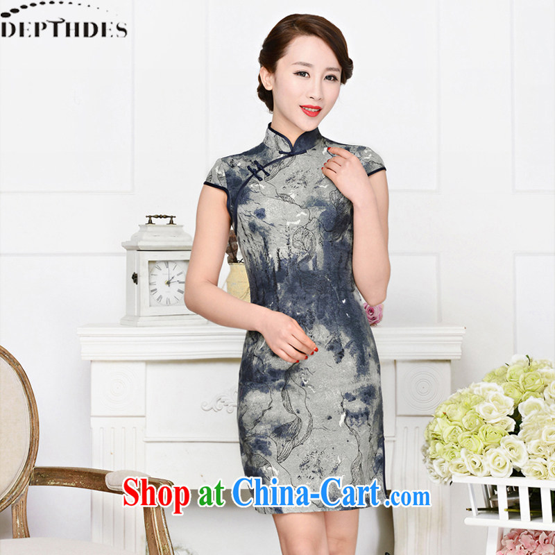 2015 DEPTHDES new summer wear women's clothing national retro elegance beauty stamp painting improved short cheongsam dress beige and navy suits XXL