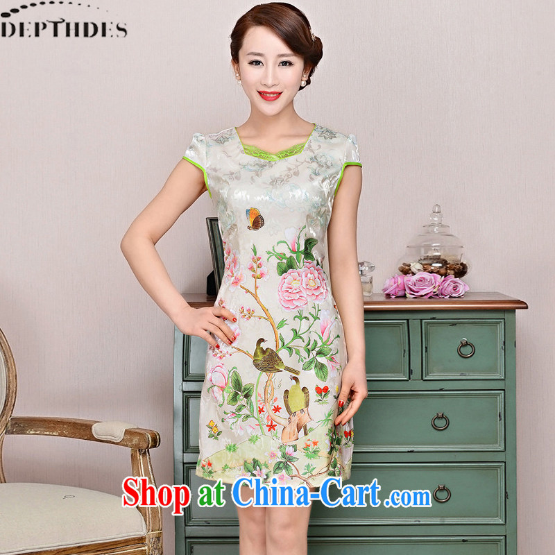 2015 DEPTHDES new summer wear women national retro elegance beauty stamp Peony picture improved short cheongsam dress pink peony flowers XXL