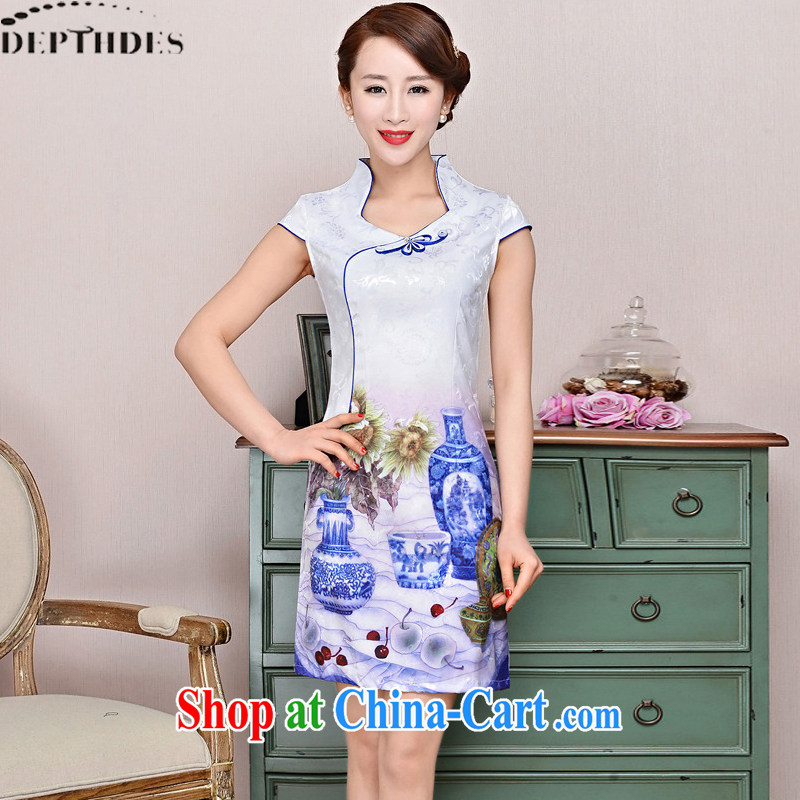 2015 DEPTHDES new summer wear women national retro elegance beauty stamp blue and white porcelain improved short cheongsam dress white blue and white porcelain XXL