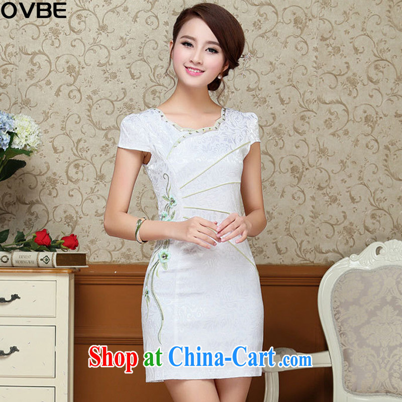 OVBE Korean version 2015 summer New Style Beauty Fashion petal collar embroidered Chinese qipao package and dresses girl light green XXL