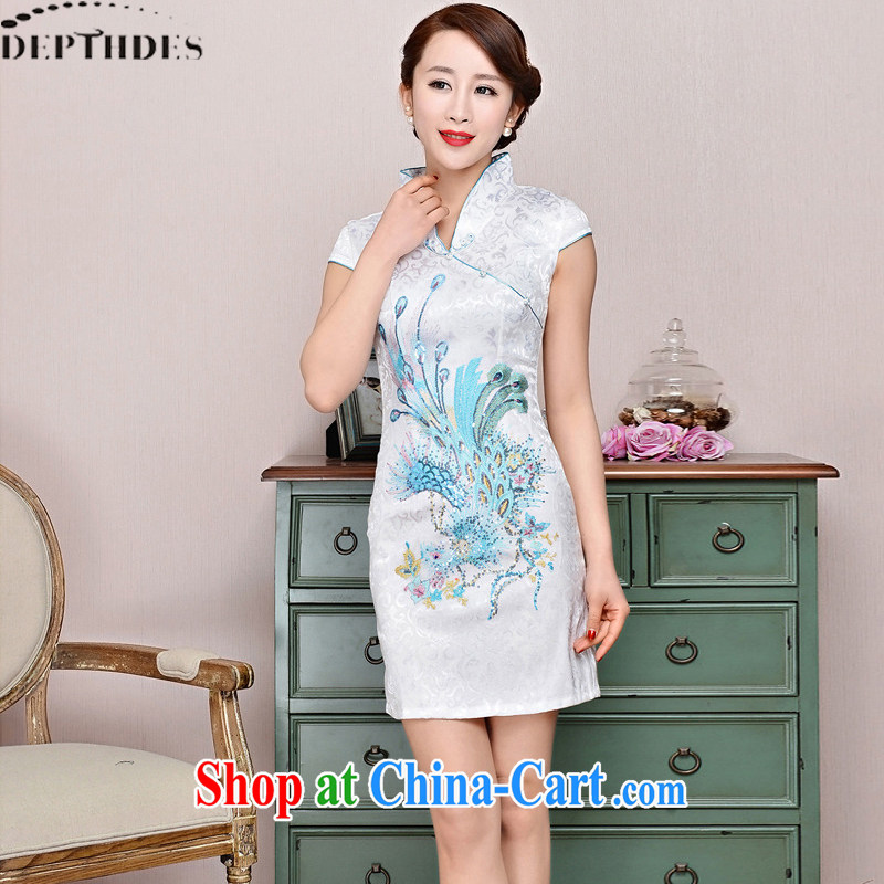 2015 DEPTHDES new summer wear women national retro elegance beauty stamp Phoenix animation improved short cheongsam dress white Phoenix orchids XXL