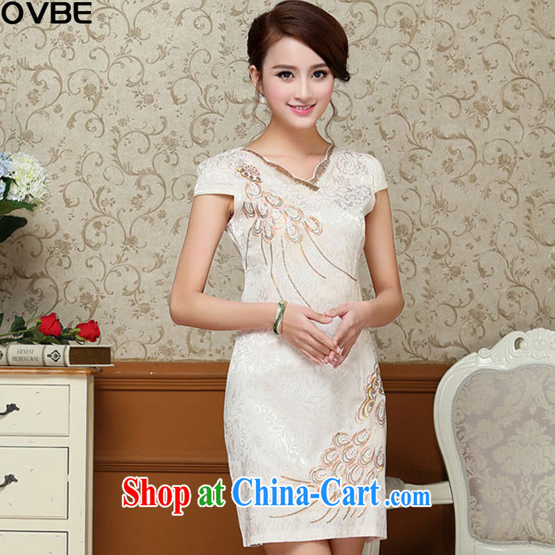 OVBE Korean version 2015 summer New Style beauty and elegant petal collar, Tang with elegant qipao dresses female light yellow XXL