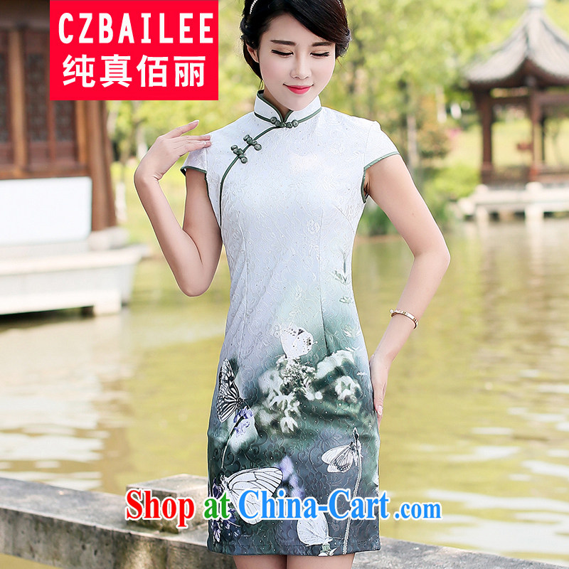 Jin Bai Lai 2015 new summer improved cheongsam dress Chinese Dress style stamp national high-end short-sleeved video thin dresses L