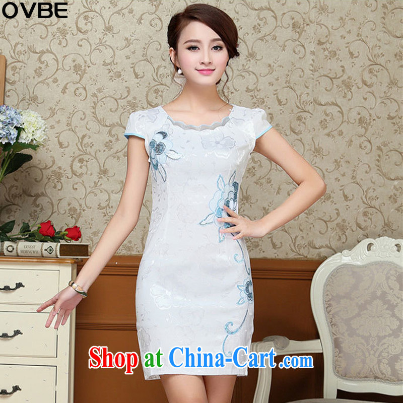 OVBE Korean version 2015 summer New Style beauty Noble and elegant petal collar embroidered Chinese cheongsam dress girls light blue XXL