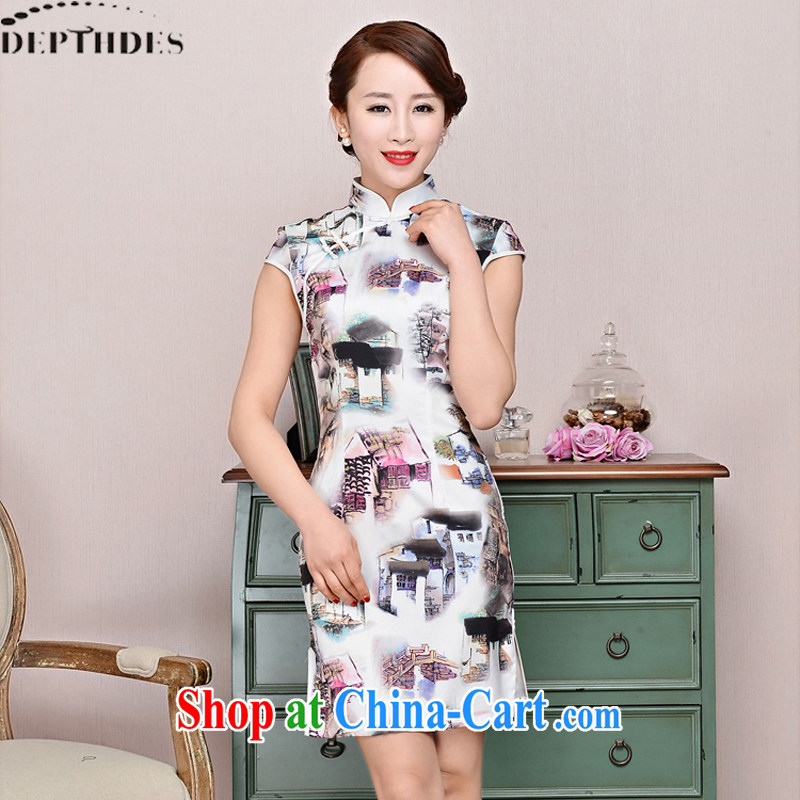 2015 DEPTHDES new summer wear women national retro elegance beauty stamp Landscape Improvement short cheongsam dress white package for landscape XXL