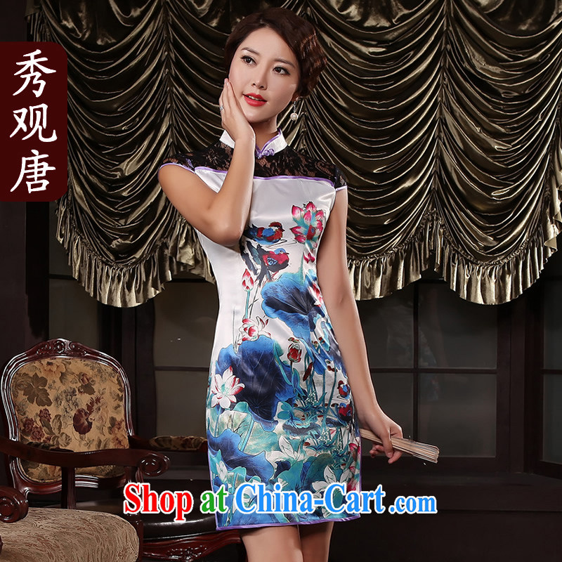 mandarin ducks playing in the water summer new lace cheongsam stylish improved women's clothing sexy dresses G 13,451 picture color S