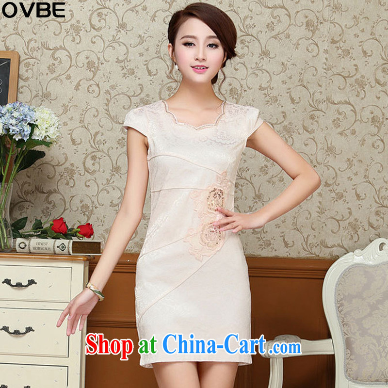 OVBE Korean version 2015 summer new style package and cultivating noble petal collar embroidered Chinese cheongsam dress Female M yellow XXL