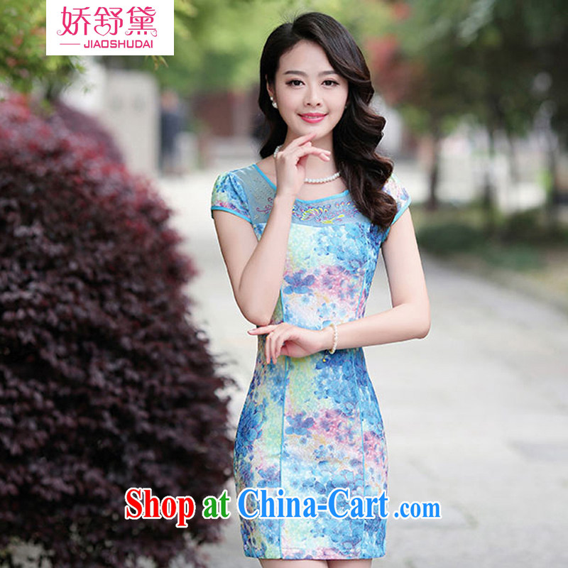 Air Shu Diane 2015 summer dresses new Chinese female improved graphics thin, qipao dresses girls 02 blue Peony XXL