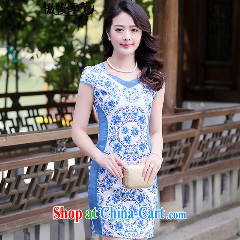 Arrogant season 2015 summer new stylish ethnic wind daily improved flag cultivating graphics thin large code dresses cheongsam girls blue and white porcelain XXL