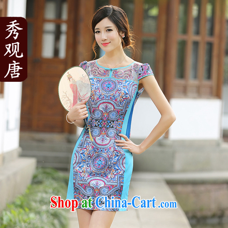 The CYD HO Kwun Tong' Hee-spring and summer with stylish improved cheongsam dress Ethnic Wind retro dress dresses QD 4415 photo color S