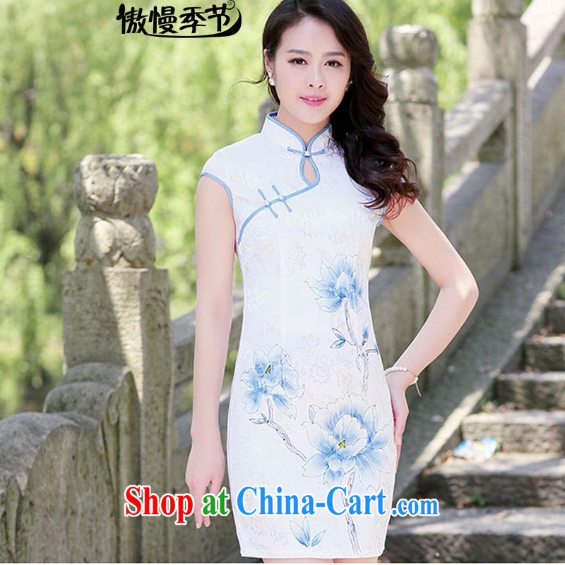 Arrogant season 2015 retro New Beauty video thin short-sleeve style improved, dresses cheongsam girls blue lotus S