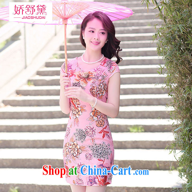 L'Occitane aviation Diane 2015 summer new short-sleeved cheongsam dress beauty temperament stamp concept cheongsam dress girls of the Red flower XXL