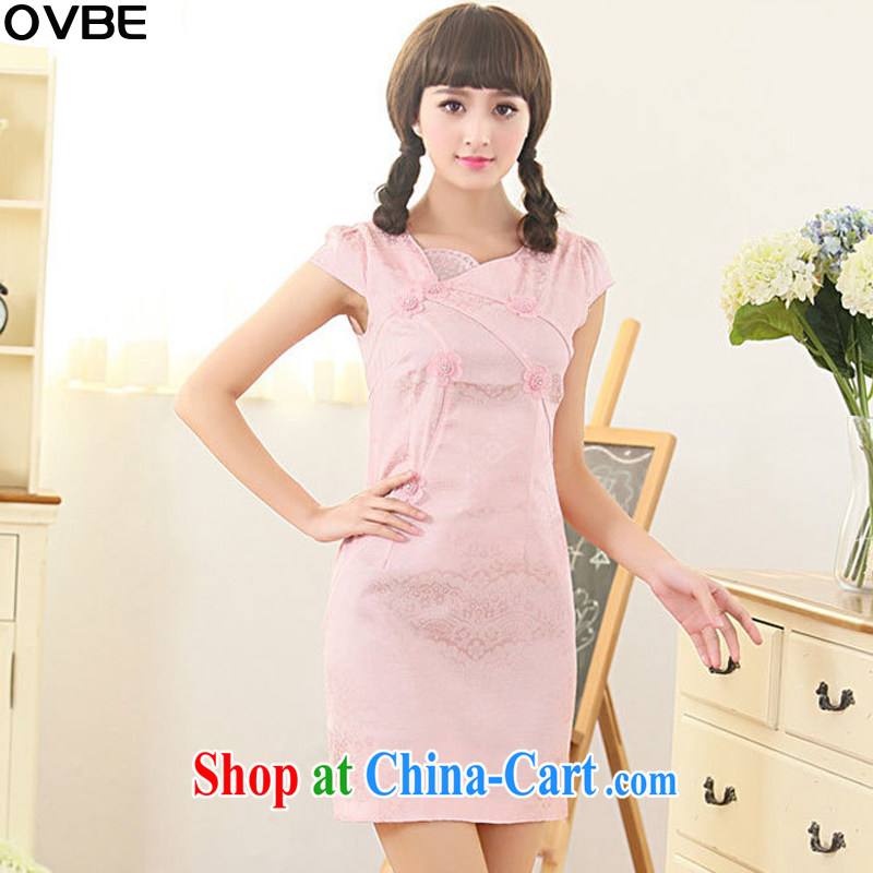 OVBE Korean version 2015 summer New Style Beauty Fashion embroidered elegant Chinese cheongsam dress girls pink XXL