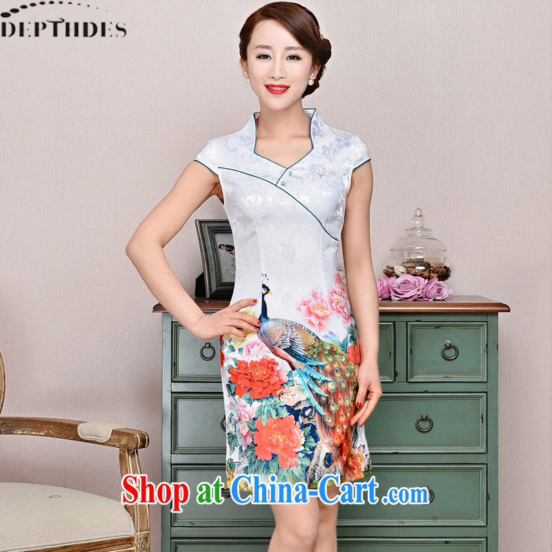 2015 DEPTHDES new summer wear women national retro elegance beauty stamp Peacock animation improved short cheongsam dress White Peacock peony flowers XXL
